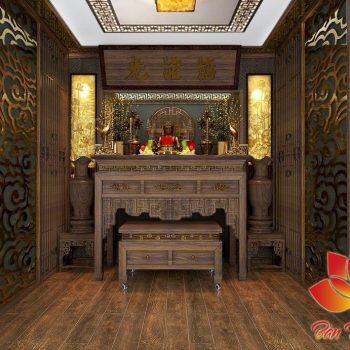 Phòng thờ đẹp với nội thất gỗ cao cấp