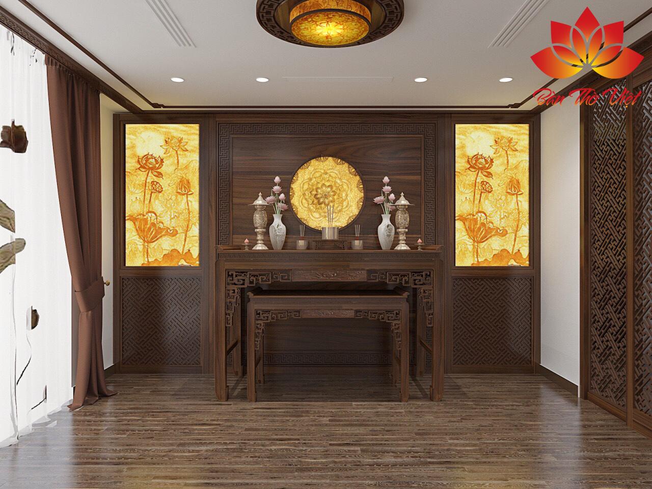 Tranh phong thủy phòng thờ là tranh trúc chỉ vẽ hình hoa sen sang trọng và tôn nghiêm