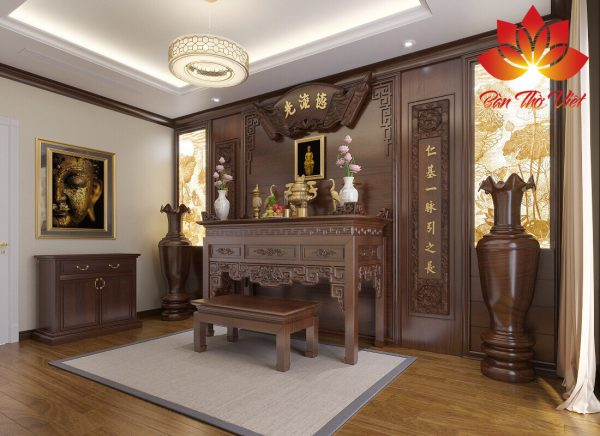 Phòng thờ thiết kế theo phong cách người Việt cổ