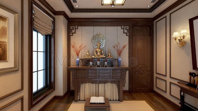 Mẫu phòng thờ Phật thiết kế đơn giản mang đậm phong cách Ắ Đông