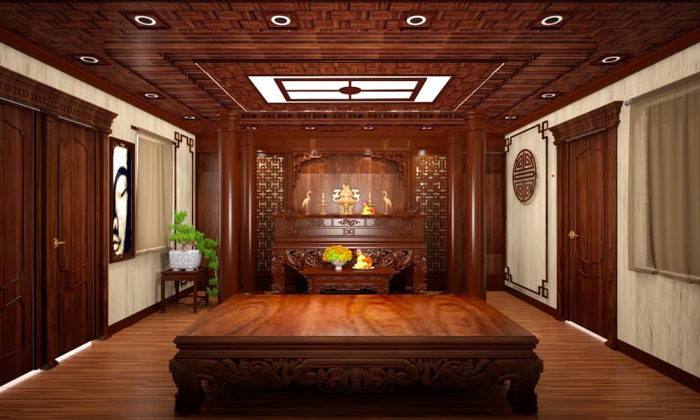Một số công trình thiết kế phòng thờ ở Mê Minh sang trọng