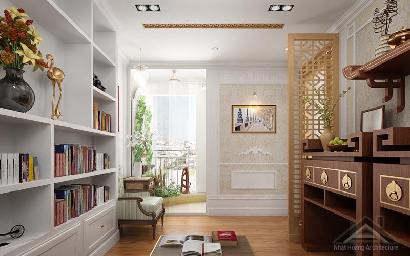 Tư Vấn - Thiết kế phòng thờ kết hợp phòng đọc sách đẹp Nhất