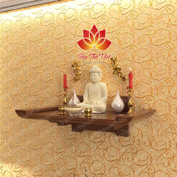 Bàn thờ Phật có thể đặt trong phòng thờ riêng hoặc bàn thờ treo tường